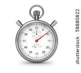 Isolated stopwatch on white. Clipping path included. Computer generated image. - stock photo