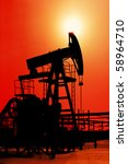 Oil derrick - stock photo