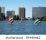 Sailboats on Lake Merritt, Oakland, California - stock photo
