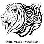 Abstract fiery Lion in the form of a tattoo - stock vector