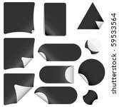 realistic vector black stickers with peeling corners - stock vector