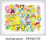 Funny Children Background (vector) - stock vector