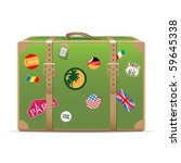 Vintage travel suitcase - stock vector