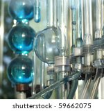Flasks, tubes and bulbs made from glass, closeup of a chemical laboratory - stock photo