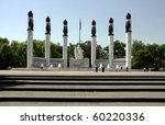Monument sculpture and columns around square in Mexico city - stock photo