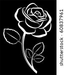 vector rose art black backdrop - stock vector