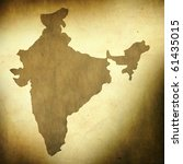 There is a map of India on grunge paper background - stock photo