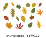 autumn leaves isolated on white background - stock vector