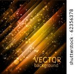 vector golden holiday background with shiny particles and lights - stock vector