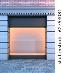 3D illustration of a classical empty storefront with the evening lighting. - stock photo