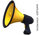 Megaphone announcement. Shiny and colorful (yellow with black parts). Propaganda concept. This is a detailed 3D render (Hi-Res). Isolated on white - stock photo
