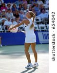 Anna Kournikova Warms Up At 2000 Acura Tennis Classic - stock photo
