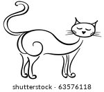 Silhouette of a standing black cat - stock vector