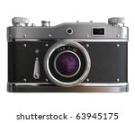 Old photo camera on white background - stock photo