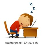 Vector image. Man sleeping at work table over laptop - stock vector