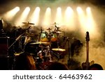 Music Instruments, Drums/Guitar on stage - stock photo