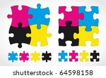 CMYK jigsaw puzzle set - stock vector
