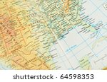 Macro shot of a map showing the Gulf of Mexico region - stock photo