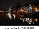 Philadelphia Boathouse Row at Night - stock photo