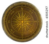 Antique Brass Compass Table Top - stock photo