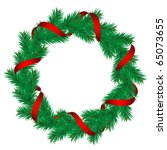 Christmas pine garland decorated with red and golden ribbons. Vector. - stock vector