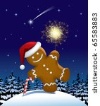 Vector illustration of gingerbread man with a sparkler in winter fir forest in the night - stock vector