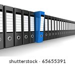 A row of files, with one blue one standing out from the others - stock photo