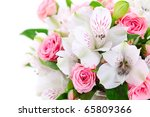 Flower border on white isolated background - stock photo