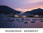 Cadaques sunset. Romanticism in the Mediterranean Sea. The village of Salvador Dali, in Costa Brava, Gerona, Catalonia, Spain. - stock photo