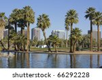 Downtown of Phoenix as seen from Encanto park, Arizona - stock photo
