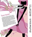 Vector fashion page with black silhouette of the girl in light-pink dress - stock vector