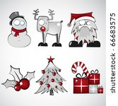 Set of Six Christmas Illustrations - stock vector