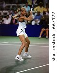 Anna Kournikova Plays Nathalie Tauziat At 2000 Acura Tennis Classic - stock photo