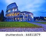 The Coliseum (or Colosseum) in Rome, Italy by night - stock photo
