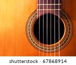 musical background image of spanish guitar - stock photo