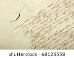 Old handwriting. Document from eighteen forty five. - stock photo