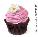 Chocolate cupcake with pink frosting and a white flower, isolated on white. - stock photo