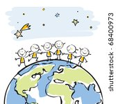 little people together on top of the globe vector illustration, sticky children's drawing style series, grouped and layered for easy editing - stock vector