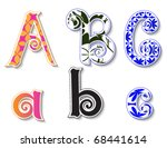 Colorful 3D Swirl ABC Letters with custom patterns (swatches) included. to mix  and match or color to your specific needs. eps 10 - stock vector