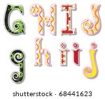 Colorful 3D Swirl GHIJ Letters with custom patterns (swatches) included. to mix  and match or color to your desired needs. eps 10 - stock vector