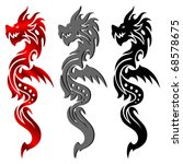Tribal Tattoo Dragon Vector - stock vector