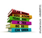 Three dimensional render of different colored books with the word SCHOOL highlighted. Concept image for back to school. Please see other similar images in my portfolio. - stock photo