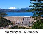 Shasta Dam, Redding California, Mount Shasta in the distance - stock photo