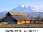 Barn near Mount Shasta, Northern California - stock photo