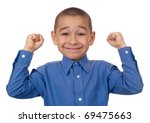 Happy kid with hands raised, victory, seven years old, isolated on pure white background - stock photo