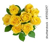 Heart-shape yellow roses isolated on white. - stock photo