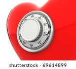 Red heart with a numeric safe lock closeup isolated on white background - stock photo