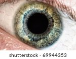 Macro shot of green and blue human eye focused on iris. - stock photo