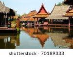 floating market in historical park Ancient City, Bangkok, Thailand - stock photo