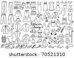 fashion and clothing icons vector collection - stock vector